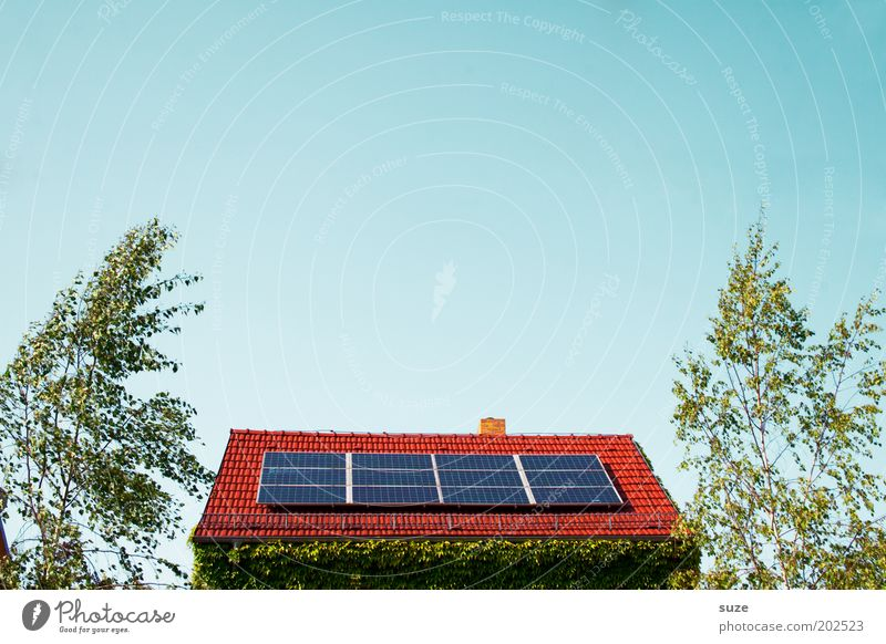 Sonnendach Himmel Haus Umwelt Energiewirtschaft Elektrizität Technik & Technologie Dach Industrie Sonnenenergie nachhaltig Umweltschutz Solarzelle alternativ