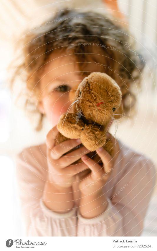 Hallo! Mensch Kind Hand schön Mädchen Spielen Haare & Frisuren träumen hell Kindheit natürlich leuchten beobachten Neugier festhalten Spielzeug