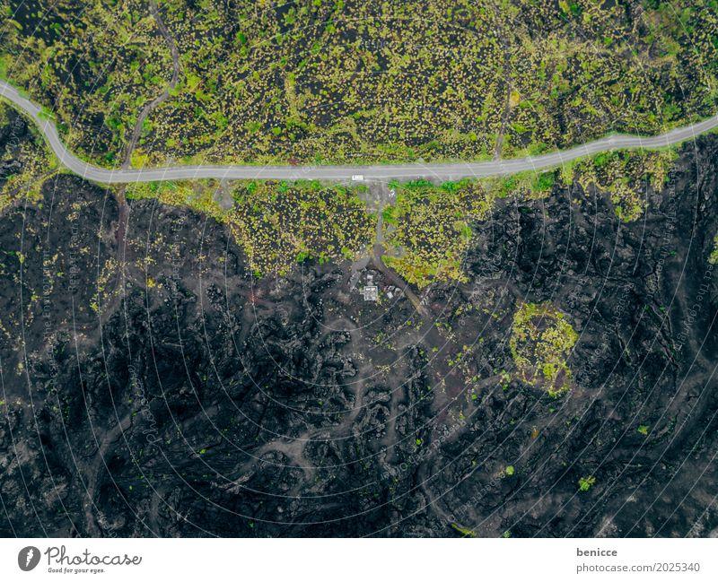 Vulkan Asche Luftaufnahme Vogelperspektive Drohne schwarz Erde Lava Wege & Pfade Asien Natur Landschaft Menschenleer Unbewohnt Indonesien Hintergrundbild Straße