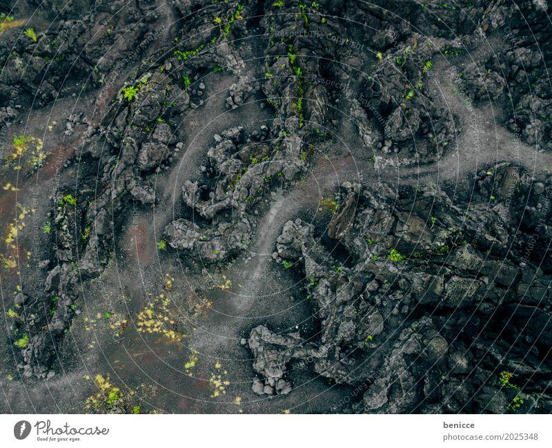 Vulkan Asche Luftaufnahme Vogelperspektive Drohne schwarz Erde Lava Wege & Pfade Asien Natur Landschaft Menschenleer Unbewohnt Indonesien Hintergrundbild