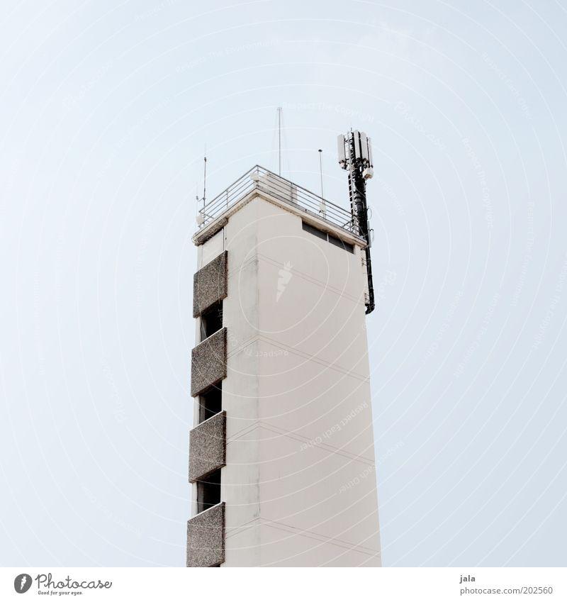 turm Himmel weiß blau grau Gebäude hell Architektur hoch Fassade Turm Bauwerk Geländer Antenne Sender