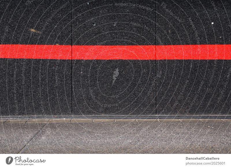 Rote Linie auf schwarzer Wand Mauer rot Politik & Staat Grenze Wege & Pfade Verantwortung Tabu Zeichen Graffiti Streifen grau Menschlichkeit Solidarität