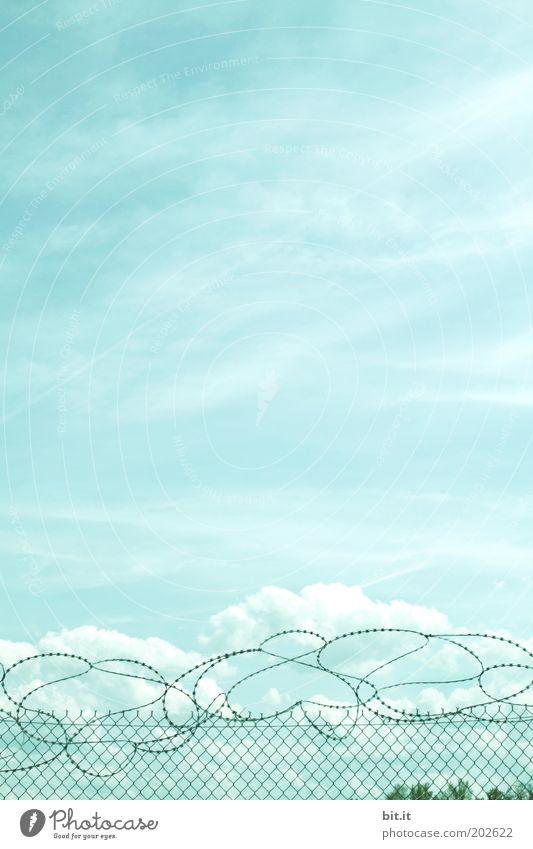 ÜBER DEN WOLKEN... Luft Himmel Wolken Klima Angst gefährlich Ungerechtigkeit Krieg Krise Schmerz Verzweiflung Zerstörung gefangen Zaun Drahtzaun drahtig