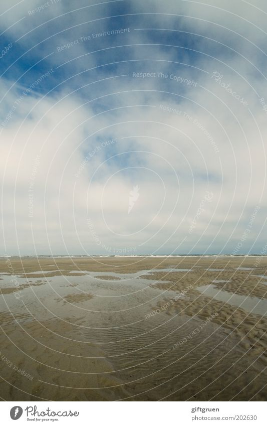 no one can stem the tide Ferien & Urlaub & Reisen Sommer Strand Meer Insel Umwelt Natur Landschaft Urelemente Sand Wasser Himmel Wolken Küste Nordsee Ebbe Flut