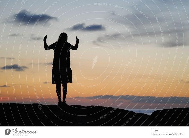 Like Ferien & Urlaub & Reisen Tourismus Abenteuer Ferne Sommer Mensch feminin Junge Frau Jugendliche Erwachsene 1 Himmel Sonnenaufgang Sonnenuntergang Küste