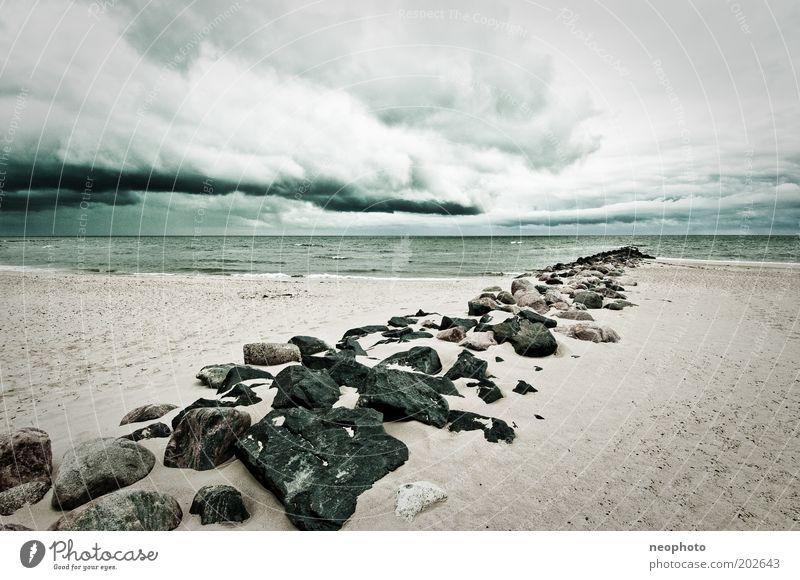 elementar alt grün Strand Meer Einsamkeit kalt grau Sand Stein Küste Luft Wellen Wind Horizont Trauer authentisch