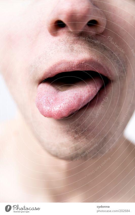 Sinn Haut Sinnesorgane Mensch Mann Erwachsene Gesicht Nase Mund Lippen 18-30 Jahre Jugendliche ästhetisch Erwartung geheimnisvoll Leben Neugier Zunge Gefühle