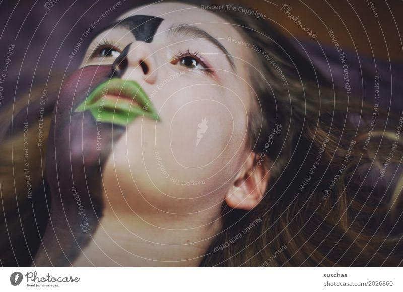 kunst im gesicht Haare & Frisuren Gesicht Schminke Kind Mädchen Junge Frau Jugendliche Auge Nase Mund Ohr 13-18 Jahre Kunst Farbe Körpermalerei bemalt Blick