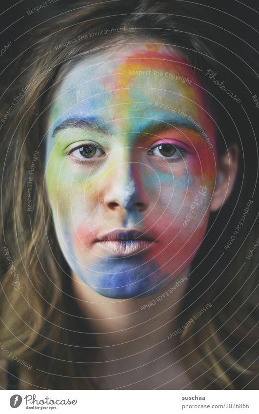 kunst im gesicht / straight Haare & Frisuren Gesicht Schminke Kind Mädchen Junge Frau Jugendliche Auge Nase Mund Ohr 13-18 Jahre Kunst Farbe mehrfarbig