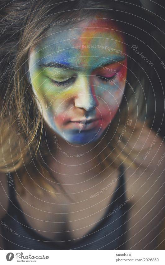 kunst im gesicht Haare & Frisuren Gesicht Schminke Kind Mädchen Junge Frau Jugendliche Auge Nase Mund 13-18 Jahre Kunst Farbe mehrfarbig Körpermalerei bemalt