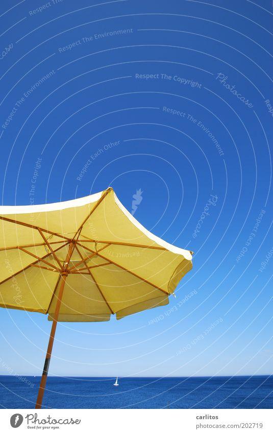 ENDLICH SOMMER Wasser Meer blau Sommer Ferien & Urlaub & Reisen ruhig gelb Ferne Farbe Erholung Freiheit Wärme Luft Zufriedenheit Küste Horizont