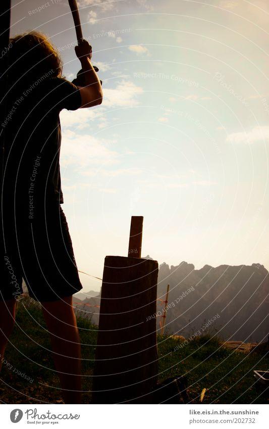 Holzfäller girl. Himmel Jugendliche Sommer Erwachsene Berge u. Gebirge Holz Gras Stein Kraft Felsen Arme Energie Junge Frau 18-30 Jahre Alpen Schönes Wetter