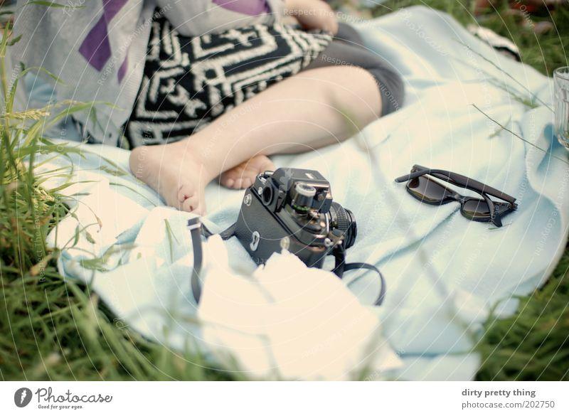 summer lovin' Mensch Natur Jugendliche Erholung Wiese feminin Fuß Wärme Beine Ausflug Pause Fotokamera Picknick Sonnenbrille Decke