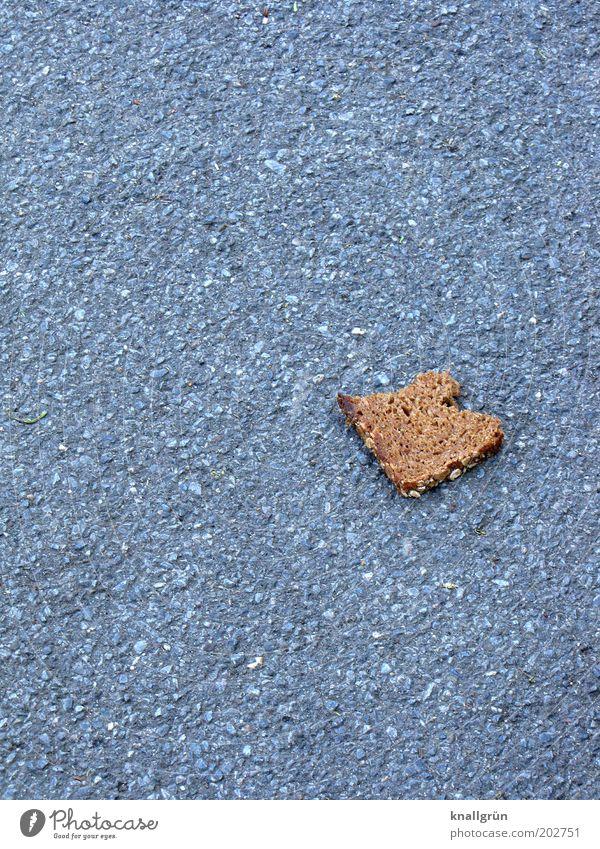 Brot für die Welt Lebensmittel Schwarzbrot Ernährung liegen braun grau sparsam Appetit & Hunger Hemmungslosigkeit Reichtum Schnitte Brot Asphalt Bürgersteig