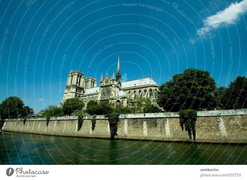 Unsere Dame Himmel Sommer Ferien & Urlaub & Reisen Architektur Religion & Glaube Tourismus Kirche Fluss Turm Reisefotografie Bauwerk Paris Frankreich Dom