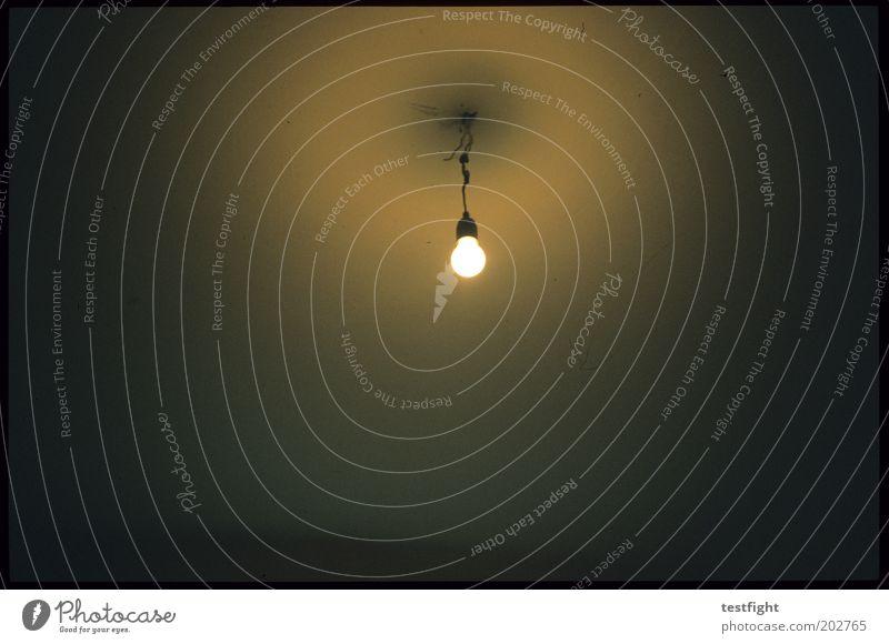 licht Energiewirtschaft Häusliches Leben Glühbirne Elektrizität Lampe Licht leuchten Halterung Decke Innenaufnahme Lomografie Kunstlicht Raum kahl trist