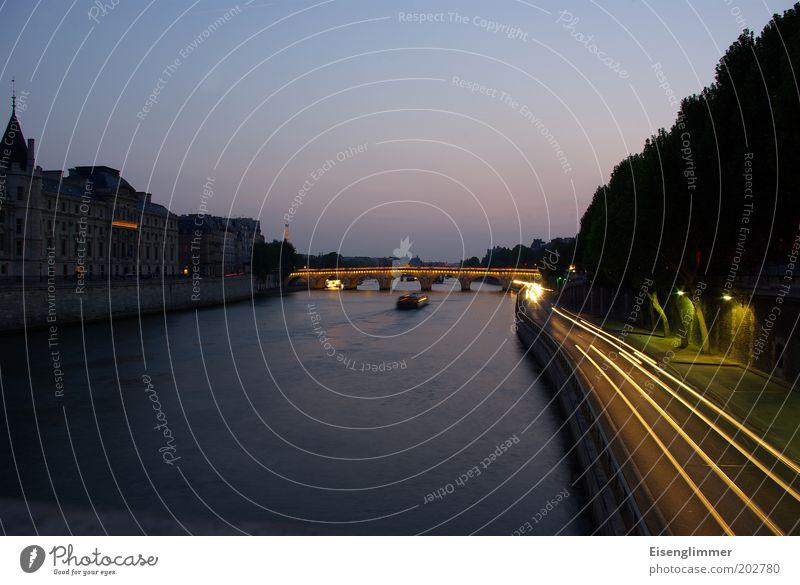 Seine Wasser Stadt Sonne Sommer Architektur Beleuchtung Horizont Wasserfahrzeug Brücke Fluss Bauwerk historisch Paris Verkehrswege Schifffahrt Flussufer