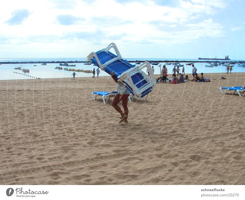 Am Strand Mensch Ferien & Urlaub & Reisen Sand Liegestuhl Teneriffa