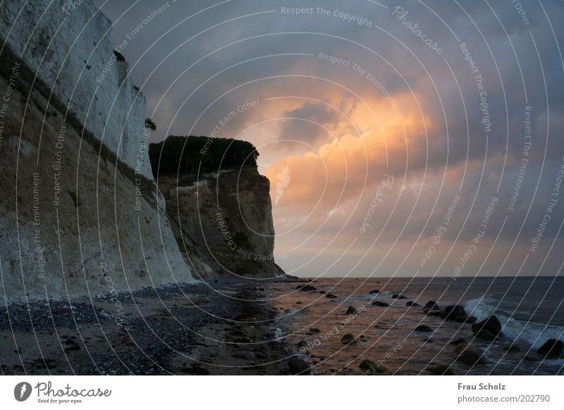 Ring of Fire Natur Wasser Meer Strand Wolken Ferne dunkel Stein Kraft Küste frei Horizont Dänemark Klippe maritim Naturgewalt