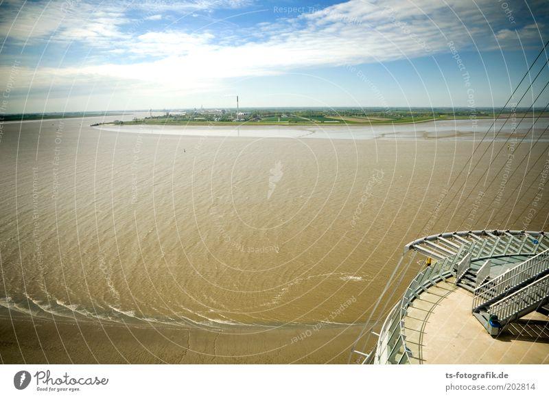 Norddeutscher Amazonas Wasser Himmel Wolken Schönes Wetter Wellen Küste Flussufer Nordsee Insel Bremerhaven Weser Wesermündung Blexen Hafenstadt Turm Bauwerk