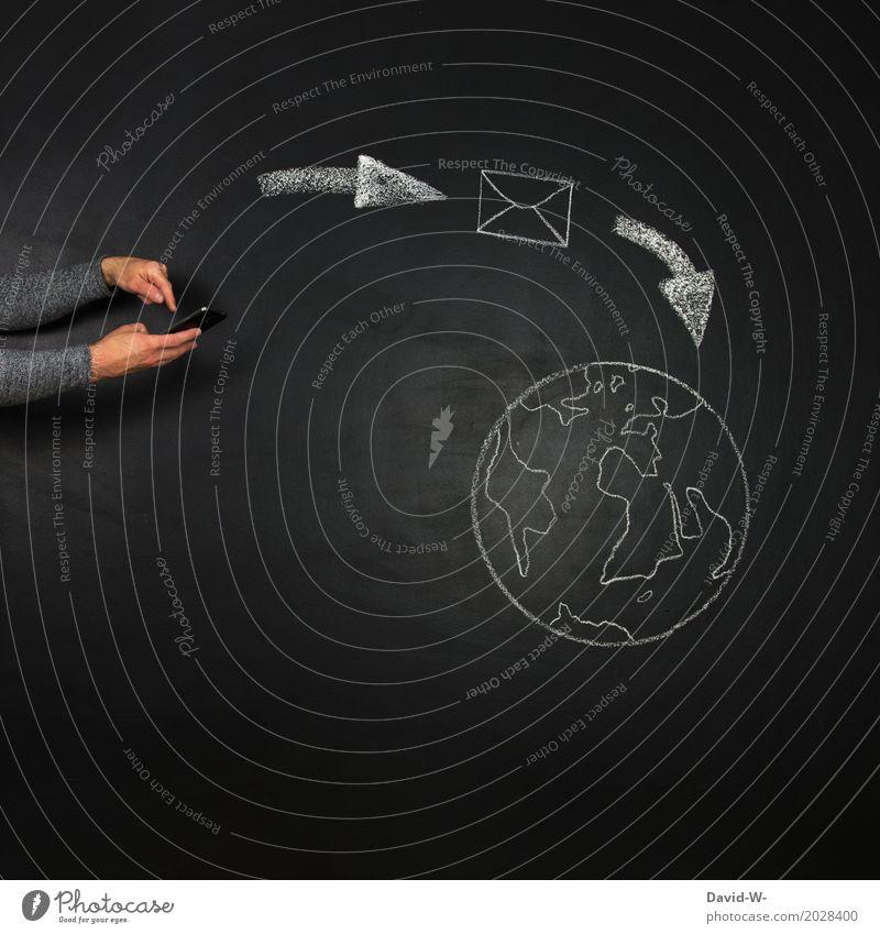 Telekommunikation Mensch Leben Lifestyle sprechen Kunst Business Erde maskulin modern Technik & Technologie Zukunft Computer kaufen Information