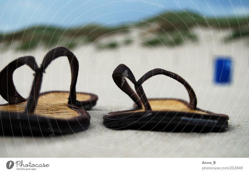 Hennes und Mauritz am Strand Sommer Sommerurlaub Natur Landschaft Sand Küste Schuhe Flipflops Erholung trendy einzigartig nah blau braun gelb gold grün