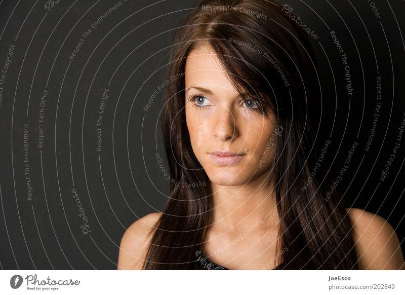 #202849 schön Mensch Frau Erwachsene Leben Kopf Gesicht Auge Nase Mund Lippen 1 brünett langhaarig beobachten Denken Blick Coolness einzigartig natürlich