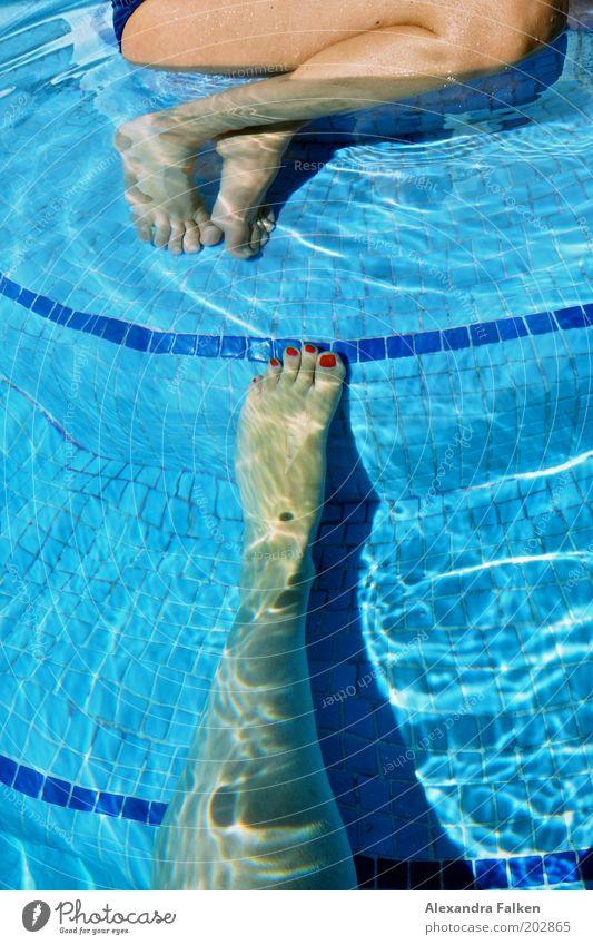 Fuß sucht Fuß zum gemeinsamen Baden Frau Erwachsene Beine 2 Mensch Schwimmen & Baden sitzen Schwimmbad Fliesen u. Kacheln blau Wasser Nagellack rot Kühlung