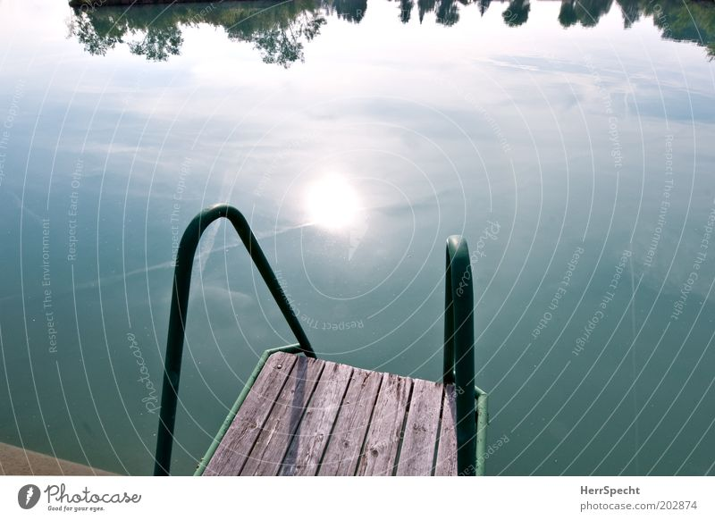 Startrampe Sommer Sonne Teich See blau grün Steg Holzplanken Wasser Farbfoto Gedeckte Farben Außenaufnahme Textfreiraum links Textfreiraum rechts Morgen Licht