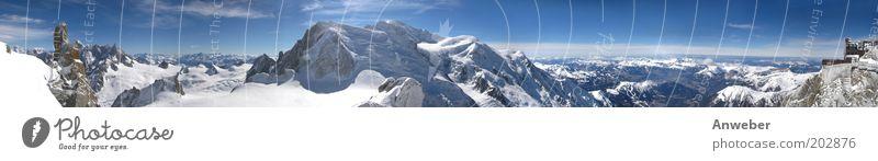 Mont Blanc – Panoroma Natur schön Himmel weiß blau Winter Ferien & Urlaub & Reisen kalt Schnee Berge u. Gebirge Landschaft Eis Wetter Umwelt Horizont Felsen