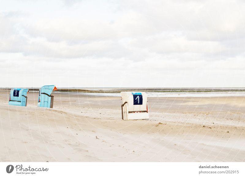 immer noch urlaubsreif ruhig Ferien & Urlaub & Reisen Tourismus Sommer Sommerurlaub Strand Meer Insel Sand Himmel Küste Nordsee hell blau weiß Einsamkeit 1 3