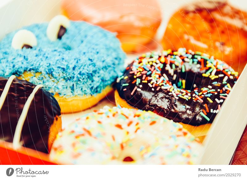 Lustige bunte Donuts im Kasten blau Farbe weiß Essen lustig Lebensmittel braun rosa Ernährung frisch süß rund Frost lecker Süßwaren Frühstück
