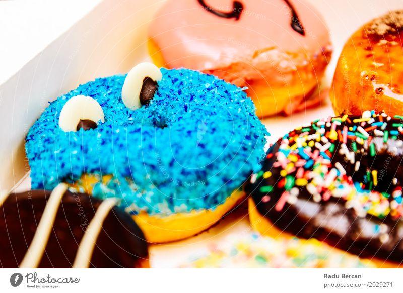 Lustige bunte Donuts im Kasten Lebensmittel Teigwaren Backwaren Dessert Süßwaren Schokolade Ernährung Essen Frühstück Fastfood Diät Fressen füttern frisch