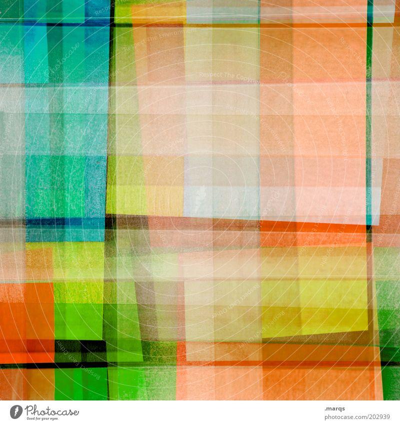 Intermezzo Design mehrfarbig gelb grün chaotisch Farbe skurril orange kariert Doppelbelichtung Farbfoto abstrakt Muster Strukturen & Formen außergewöhnlich
