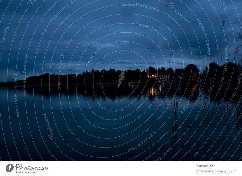 Nacht am See Natur Wasser Ferien & Urlaub & Reisen ruhig Wolken Ferne Wald dunkel Landschaft Stimmung Umwelt Ausflug Tourismus Fluss Dorf Idylle