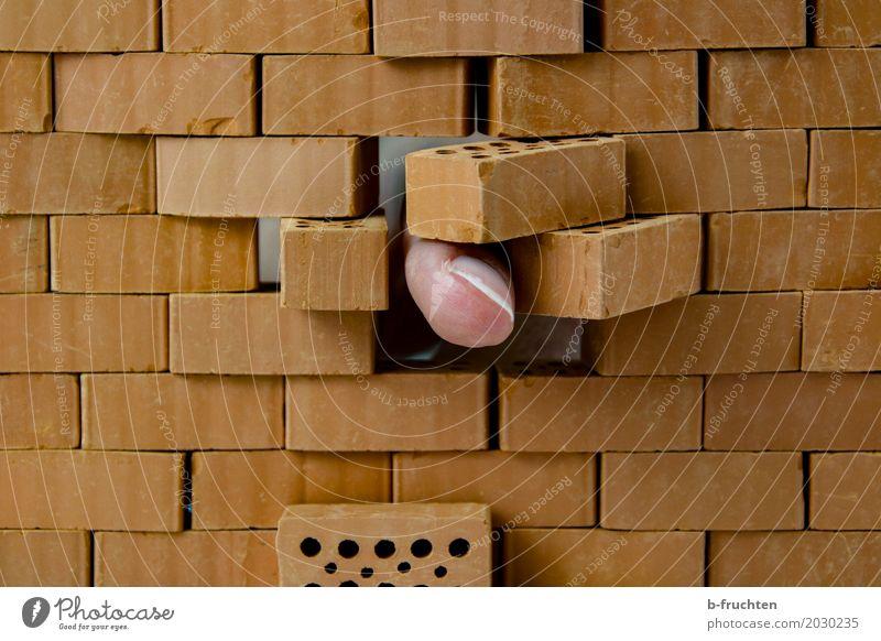 ... und durch. Arbeit & Erwerbstätigkeit Handwerker Baustelle Mann Erwachsene Finger 45-60 Jahre Bauwerk Stein Backstein bauen berühren Aggression dreckig fest