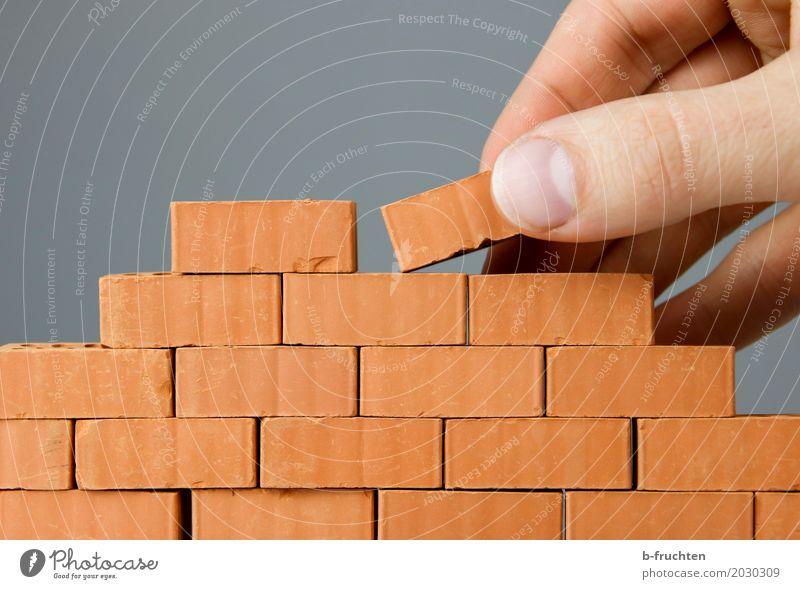 Wandbau I Mann Erwachsene Freiheit Stein Arbeit & Erwerbstätigkeit Finger geschlossen Baustelle Barriere Backstein Handwerk bauen Handwerker 30-45 Jahre Hochbau