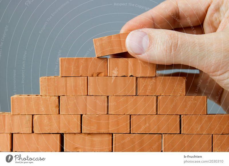 Wandbau III Haus Traumhaus Hausbau Renovieren maskulin Finger 30-45 Jahre Erwachsene Stein Backstein Arbeit & Erwerbstätigkeit bauen nachhaltig Mauer Bauwerk