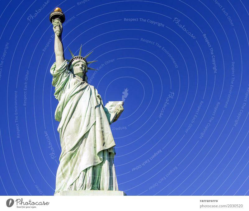 Freiheitsstatue Gesicht Ferien & Urlaub & Reisen Tourismus Sommer Insel Landschaft Himmel Wolken Architektur Denkmal alt historisch neu blau grün