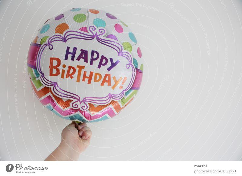 happy birthday Hand Freude Gefühle Glück Feste & Feiern Stimmung Freizeit & Hobby Geburtstag Fröhlichkeit Lebensfreude Zeichen Postkarte Überraschung Ballone