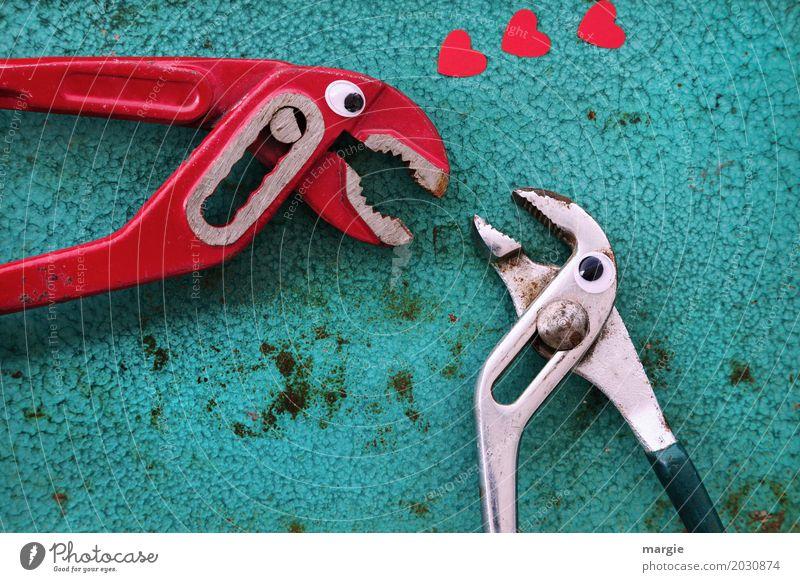 Liebe ist .....Zuneigung! Arbeit & Erwerbstätigkeit Handwerker Arbeitsplatz Baustelle Dienstleistungsgewerbe sprechen Werkzeug Technik & Technologie rot türkis