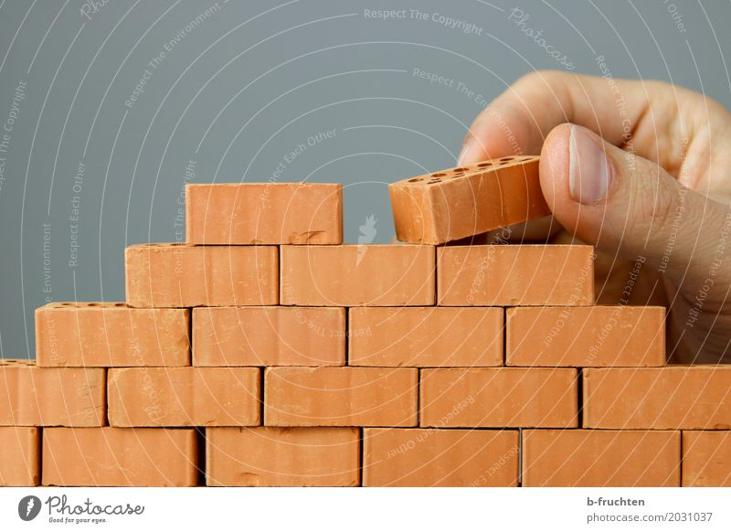 Wandbau II Mauer Stein Arbeit & Erwerbstätigkeit offen Perspektive geschlossen planen Baustelle Barriere Backstein Handwerk bauen Renovieren Handwerker