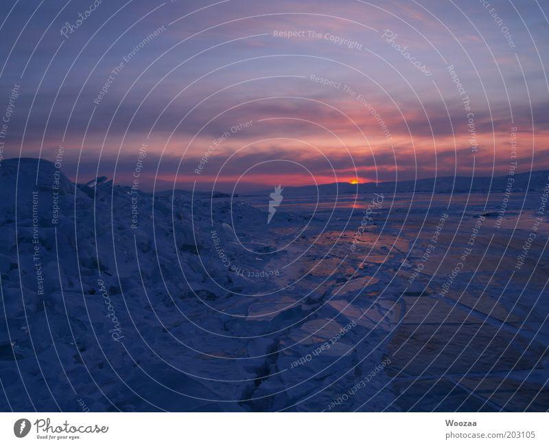 Siberia Sunset Natur blau rot Meer Wolken Winter Ferne kalt Landschaft See Eis Kraft frei natürlich Frost authentisch