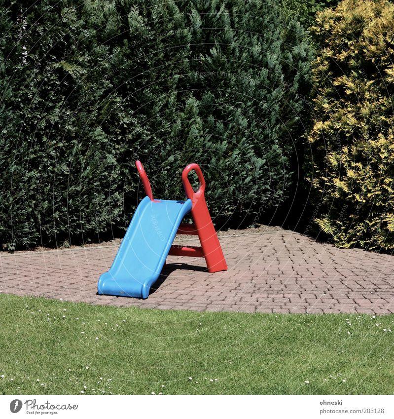 Rutschpartie Garten leer Rasen Freizeit & Hobby Spielzeug Kindheit Hecke Spielplatz Rutsche Pflanze Zypresse