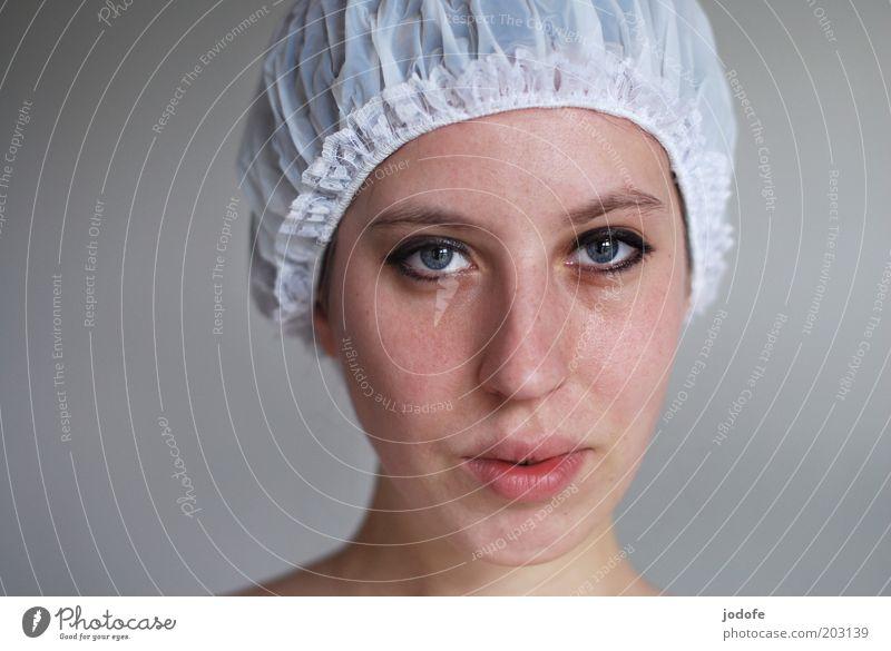 Haube Frau Mensch Jugendliche weiß Gesicht Auge feminin Mund Erwachsene Schwimmen & Baden Kunststoff Lächeln Junge Frau Stoff Rüschen