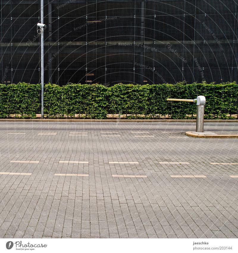 Ordnung Straße Linie Sicherheit Quadrat Mobilität Verkehrswege Videokamera Parkplatz Hecke Parkhaus Überwachung Ausfahrt Einfahrt diszipliniert Schranke Ordnungsliebe