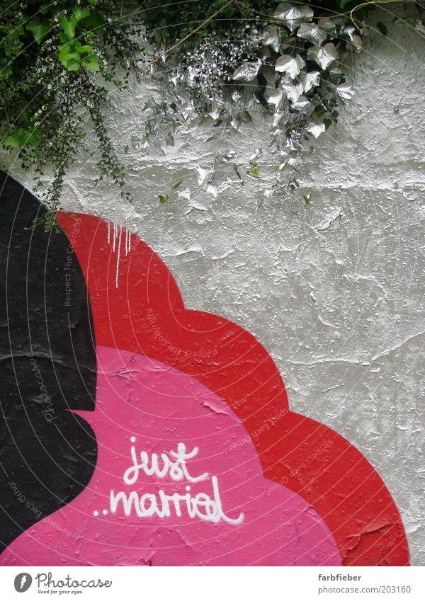 just married grün rot Liebe schwarz Farbe kalt Wand Glück Mauer Graffiti Zusammensein glänzend rosa Beginn Coolness Romantik