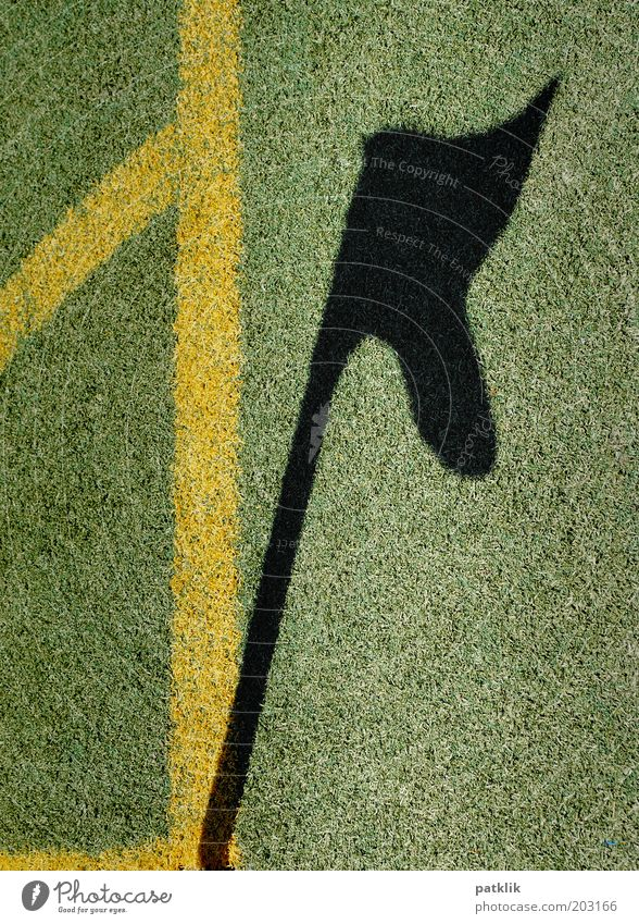 Schattendasein grün schwarz gelb Sport Gras Linie Fußball Ecke Rasen Sauberkeit Fahne Sportrasen Spielfeld wehen Stab