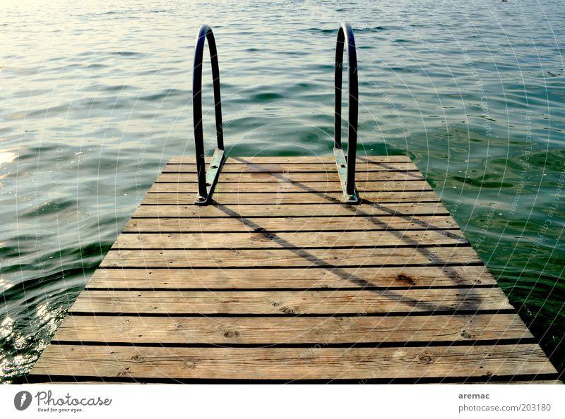 Späte Abkühlung Ferien & Urlaub & Reisen Sommer Sommerurlaub Schwimmbad Wasser Schönes Wetter Seeufer braun grün ruhig Steg Anlegestelle Farbfoto