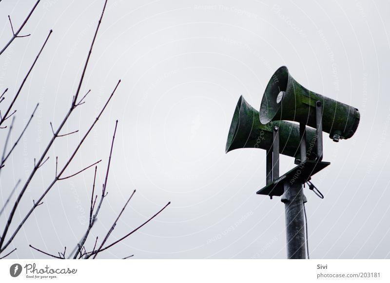 Weckruf alt Himmel Baum grün Wolken Herbst grau dreckig Macht Kommunizieren authentisch Kontakt Verfall Lautsprecher Nostalgie Klimawandel